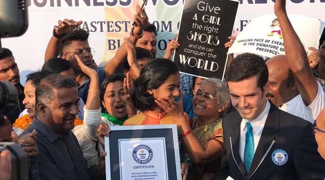 Photo of HUBBALLI GIRL ACHIEVES GUINNESS WORLD RECORD IN BLINDFOLD SKATER