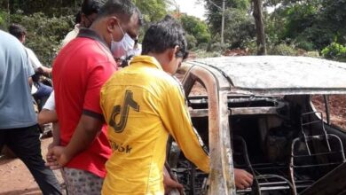 Photo of 2 Persons Had Miraculous Escape As Their Car Catches Fire